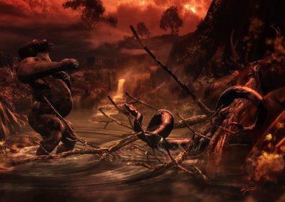 Fantasy; DarkArt; Kong; Giant Snake; Prrimeval Times; Atmosphere; Water; Mist