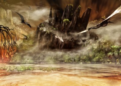 Fantasy; Pteranodon; Prrimeval Times; Atmosphere; Sea; Fog; Haze; Mist