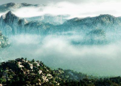 Landscape; Mountain; Forest; Clouds; Mist; Dust