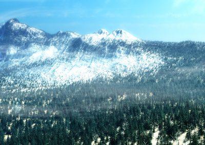 Landscape; Mountain; Forest; Winter; Snow; Fallwinds; Mist; Dust
