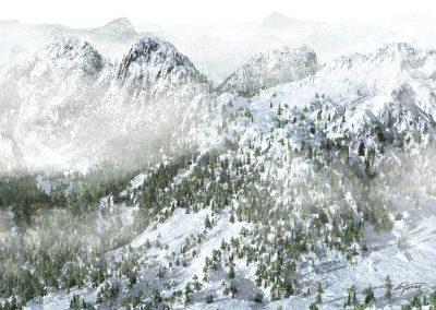 Landscape; Mountain; Winter; Snow; Mist; Dust