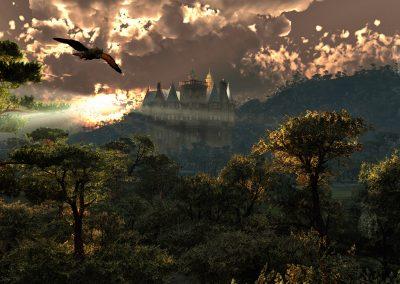 Landscape; Forest; Catle; Godrays; Evening; Sundown