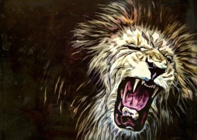 PS CS3 Image Editing; Lion; Smudgepainting; Comicstyle