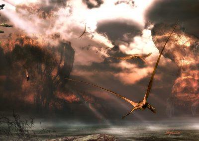 Landscape; DarkArt; Primeval Times; Jurassic; Pteranodon; Water; Godrays