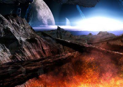 Space; Sci-Fi; Astronaut; Fire; Lava; Sparks