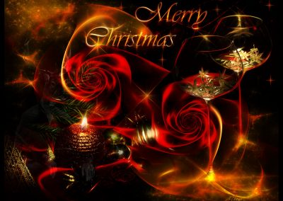 Composing; Christmas; Roses; Candle; Candlelight; Glasses; Bokeh