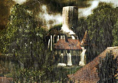 Composing; Castle; Moated Castle; Rain; Lightning; Thunderstorm