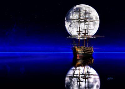 Landscape; Seascape; Water; Horizon Line; Sailing Ship; Night; Fullmoon
