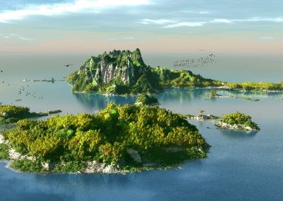 Landscape; Seascape; Water; Island; Blue Sky