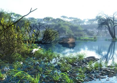 Landscape; Seascape; Noon; Fishing Cabin; Great Egret