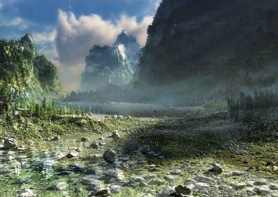 Landscape; Mountain; Mountainlake; Water; Mist; Dust