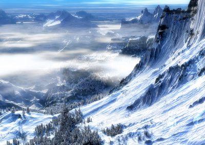 Landscape; Mountain; Winter; Snow; Clouds; Blue Sky