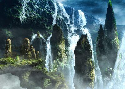 Landscape; Mountain; Needlemountains;; Castle; Waterfalls