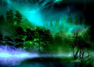 Brushes Pic; Painting; Fantasy; Mystic; Lights; Lightning; Water; Forest