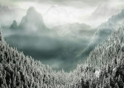Landscape; Forest; Mountains; Mountainsea; Winter; Snow; Clouds