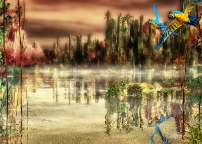 Landscape; City; Ruin; Parrots; Godrays; Destruction; Apocalypse ;Mist; Dust