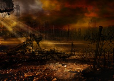 Landscape; DarkArt; City; Ruin; Flower; Godrays; Destruction; Apocalypse ;Mist; Dust
