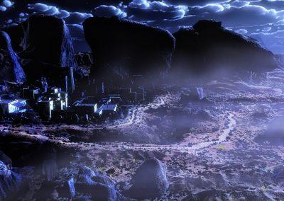 Space; Sci-Fi; City; Blue Light; Night; Fog; Mist