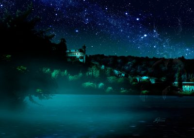 PS CS3 Composing; Nature; Night; Stars; River