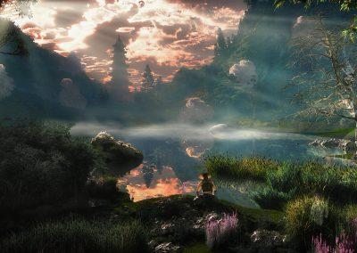 Landscape; Sea; Godrays; Pagode
