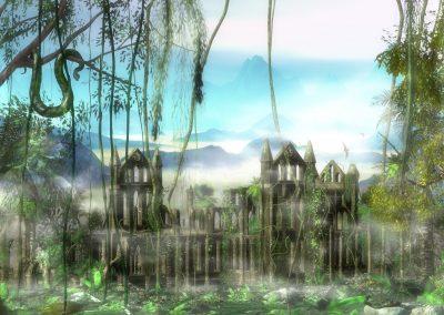 Landscape; Jungle; Snakes; Ruin; Mist