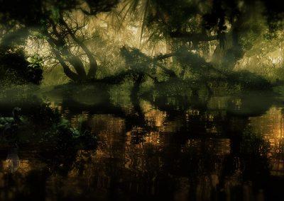 Landscape; DarkArt; Jungle; Anaconda; Water; Mist