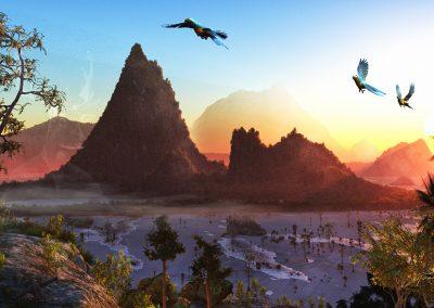 Landscape; Island; Parrot; Ara; Sea; Water; Evening Light; Sundown; Mist; Haze