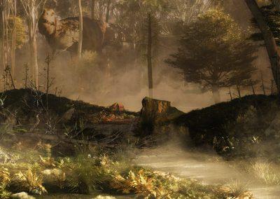 Landscape; DarkArt; Primeval Times; Jurassic; Jungle; T - Rex; Fog; Mist