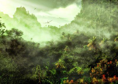 Landscape; Primeval Times; Jurassic; Pteranodon; Zhenyuanopterus; Fog; Mist