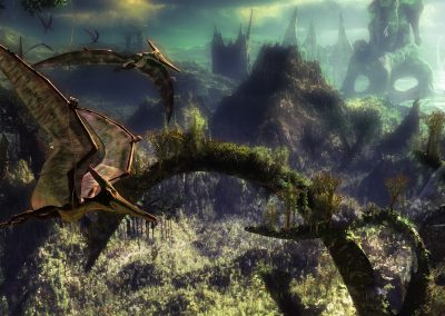 Landscape; DarkArt; Primeval Times; Jurassic; Jungle; Pteranodon