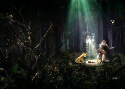 Fantasy; DarkArt; Forest; Wood; Woodqueen; Foxes; Mystic Light