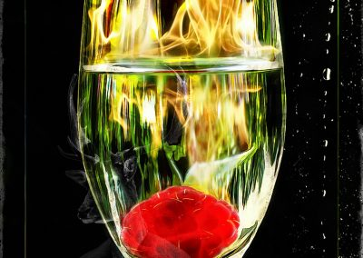 Composing; Raspberry; Raspberry Spirit; Fire; Condensation; Bokeh