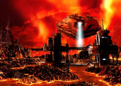 Space; Sci-Fi; Station; Spaceship; Fire; Lava