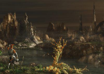 Landscape; DarkArt; Fantasy; Middle Ages; Morninglight; Knight; Fog; Mist