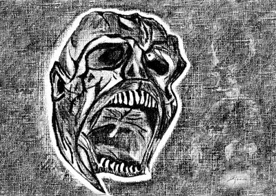 DarkArt; Skull; Pencil drawing; Black & White
