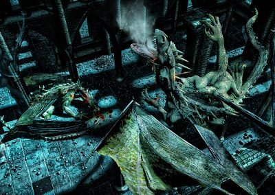 Fantasy; DarkArt; Dragon; Crossbow; Ruin; Night; Legend of the Nibelungs