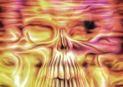 DarkArt; Skull; Watersurface; Reflections