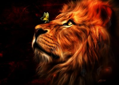 Composing; Smudge Painting; Lion; Butterfly; Glowing