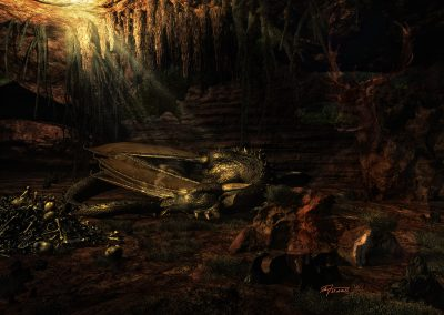 Fantasy; DarkArt; Dragon; Cave; Lightrays; Bones