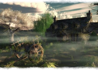 Landscape; Old Pub; Old Handcart; Abandoned; Fog; Mist
