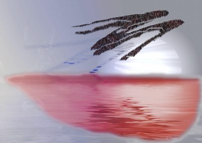 Brushes Pic; Painting; Abstract; Island; Stylized Palm; Water