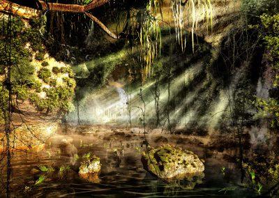 Landscape; Cave; Sea; Water; Altar; Sundown; Godrays; Atmosphere