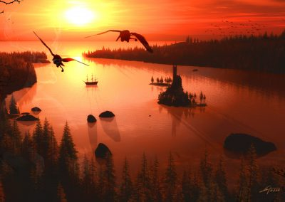 Landscape; Forest; Island; Sea; Water; Castle; Sundown; Atmosphere
