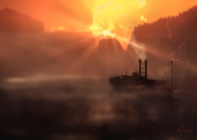 Landscape; River; Water; Paddle Steamer; Sundown; Atmosphere