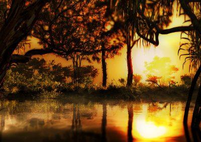 Landscape; Swamp; Water; Forest; Sundown