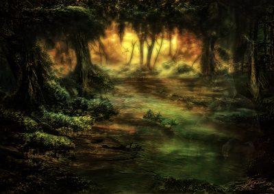 Landscape; DarkArt; Swamp; Water; Forest; Sundown