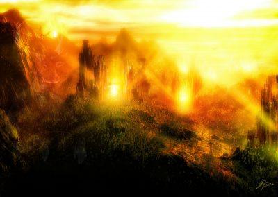 Fantasy; Castles; Dragons; Glowing; Landscape