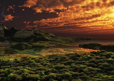 Landscape; Sea; Water; Forest; Mountains; Village; Sundown; Atmosphere