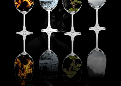 Composing; Glasses; Fire; Water; Earth; Air