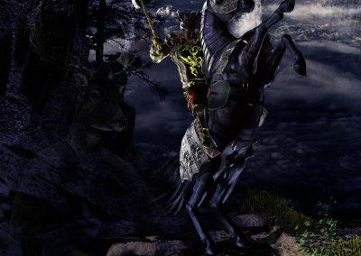 Fantasy; DarkArt; Knight; Horse; Mountains